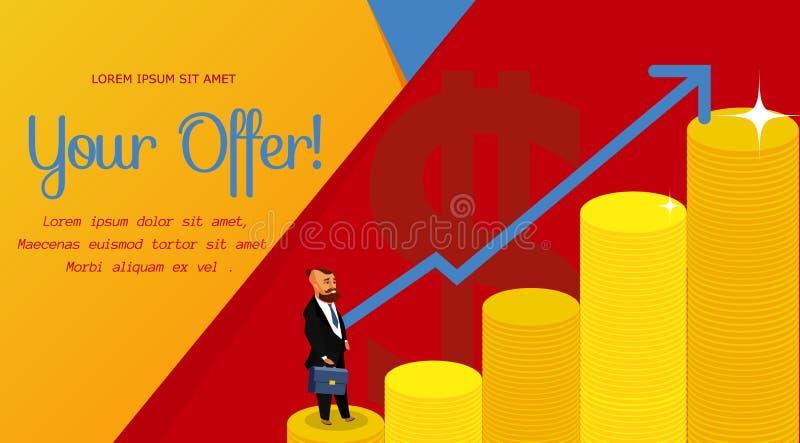 Lyckad affärsman Vector Banner Template stock illustrationer