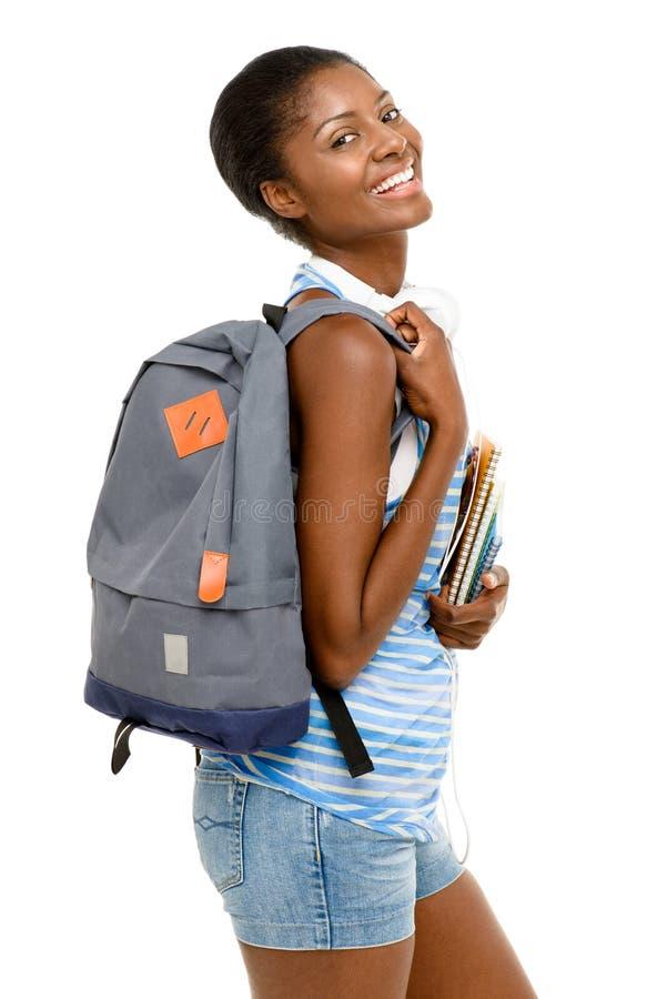 Lyckad afrikansk amerikanstudentkvinna som tillbaka går till skola I fotografering för bildbyråer