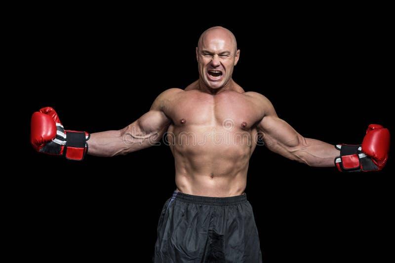 Lyckad boxare med utsträckta armar arkivfoto