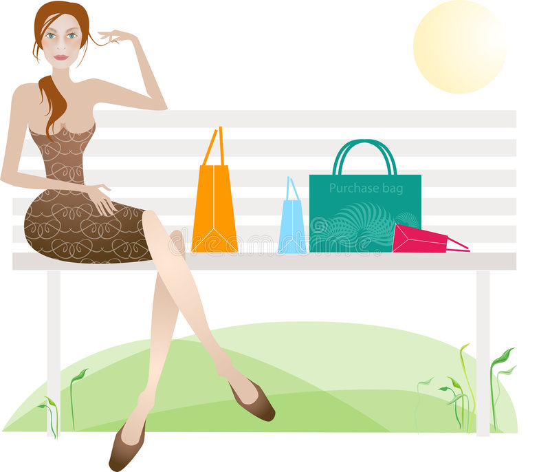 lyckad dagshopping stock illustrationer