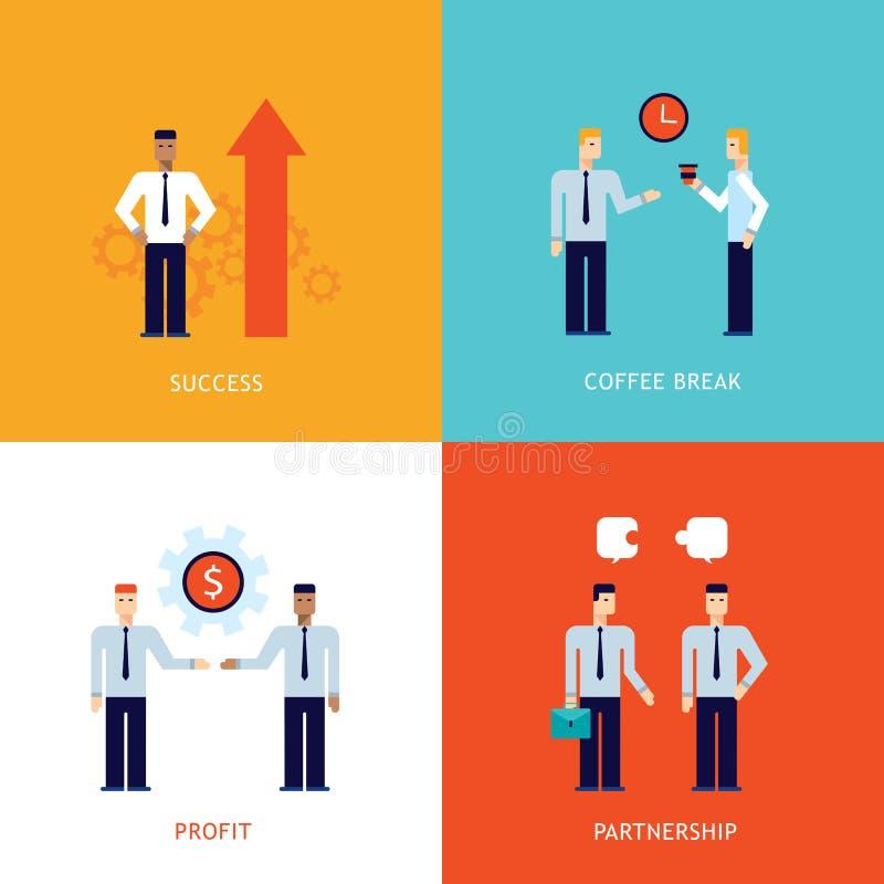 Lyckad design för avbrott för kaffe för vinst för framgång för affärsteamworkpartnerskap plan vektor illustrationer