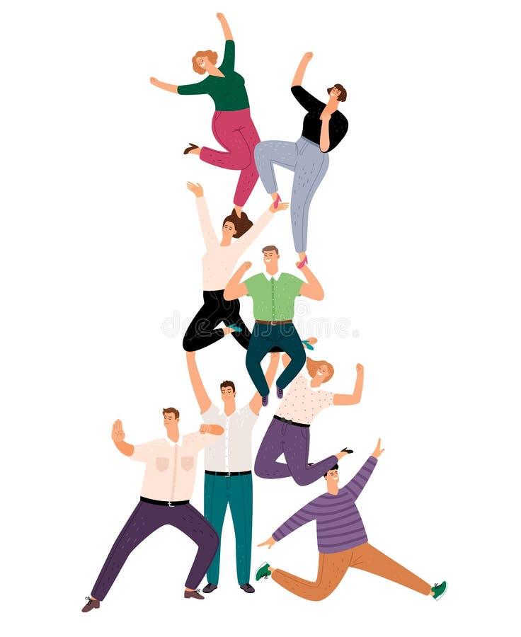 Lyckad folkteamworkpyramid Lycklig ung mänsklig illustration för gemenskapservice, tillfällig tecknad filmfolkmassa för framgång  royaltyfri illustrationer