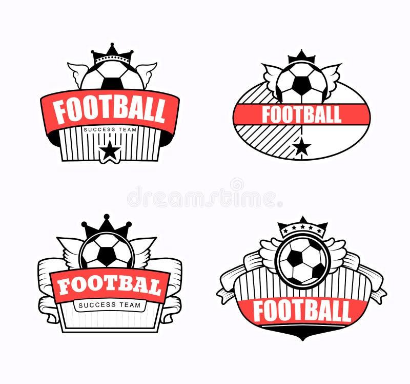 Lyckad fotbollemblemklubba royaltyfri illustrationer