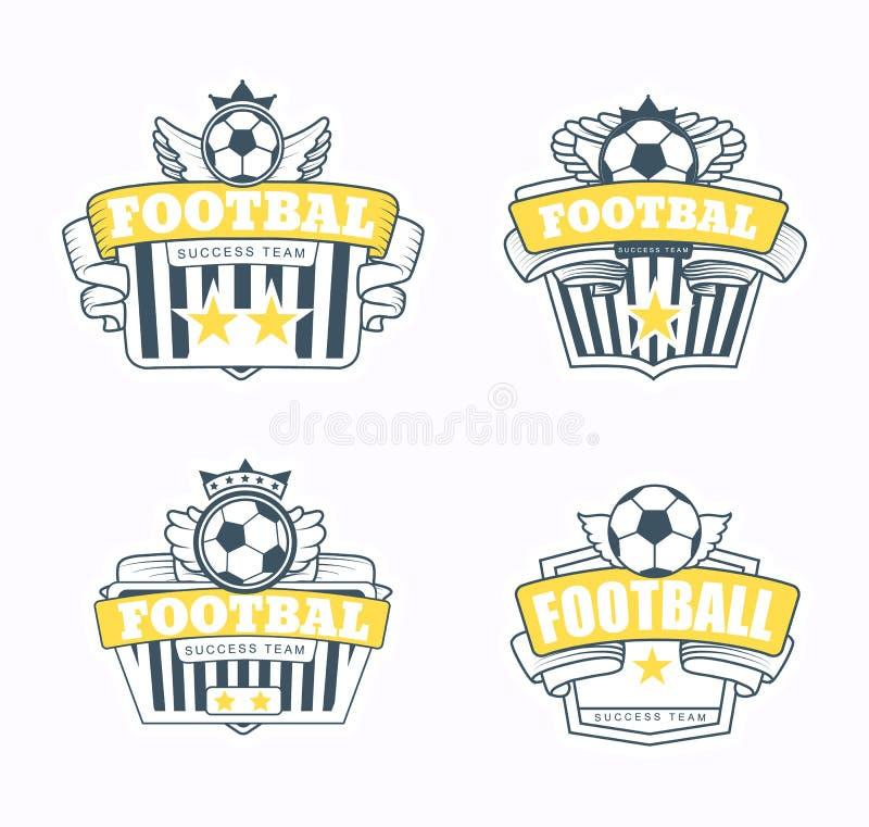 Lyckad fotbollemblemklubba vektor illustrationer