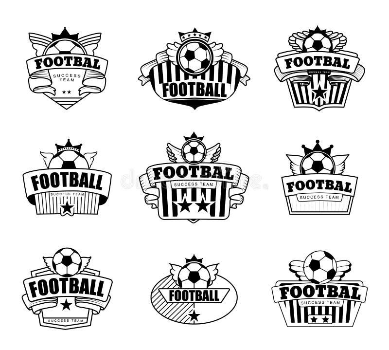 Lyckad fotbollemblemklubba stock illustrationer