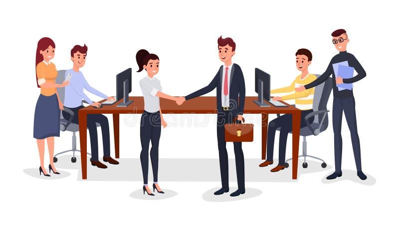 Lyckad illustration för vektor för affärsmöte vektor illustrationer