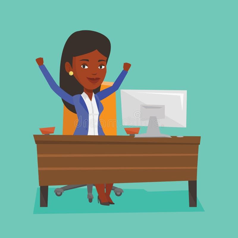 Lyckad illustration för vektor för affärskvinna vektor illustrationer
