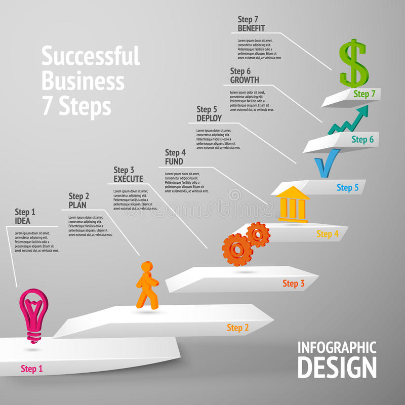 Lyckad infographic affärstrappuppgång stock illustrationer