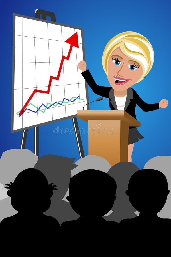 Lyckad konferens för högtalare för affärskvinna stock illustrationer