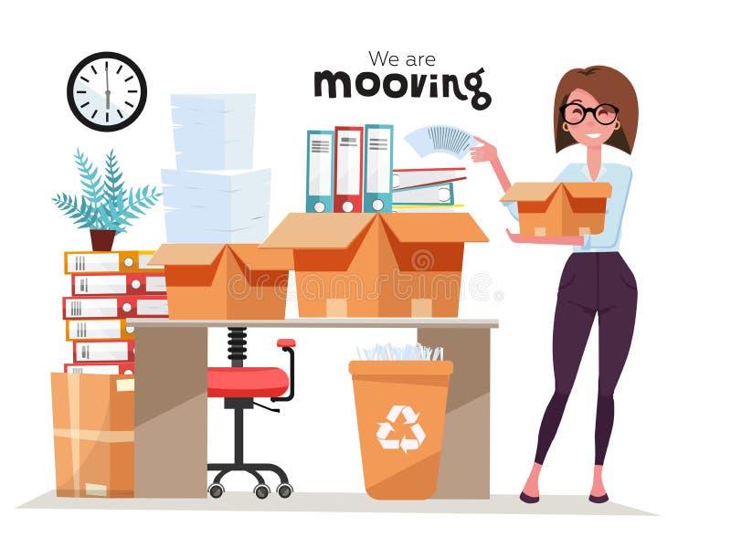 Lyckad le kartong för innehav för affärskvinna med arbetsmaterial, bunt av mappar på att flytta sig för kontor Kontorsflyttningjo stock illustrationer