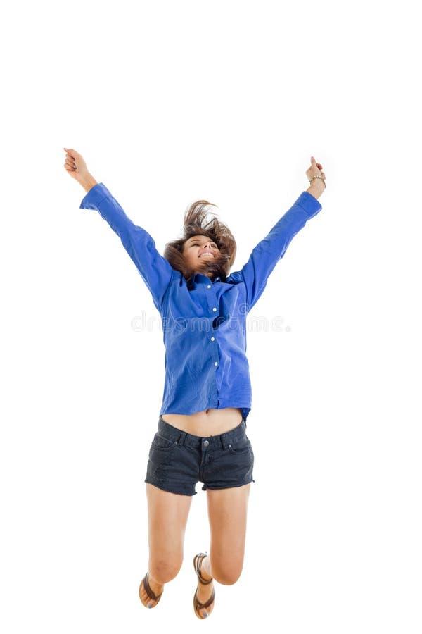 Lyckad le tonårs- flicka eller kvinna som är lyckliga för hennes rena succ arkivfoton