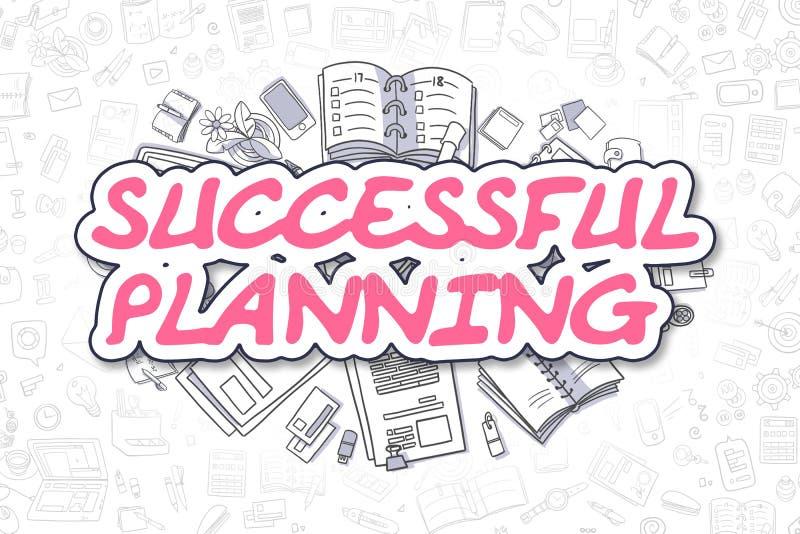 Lyckad planläggning - magentafärgat ord för klotter äganderätt för home tangent för affärsidé som guld- ner skyen till stock illustrationer