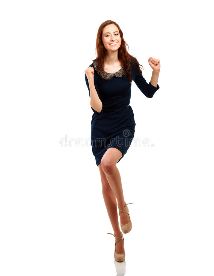 Lyckad ung affärskvinna som är lycklig för henne royaltyfria bilder