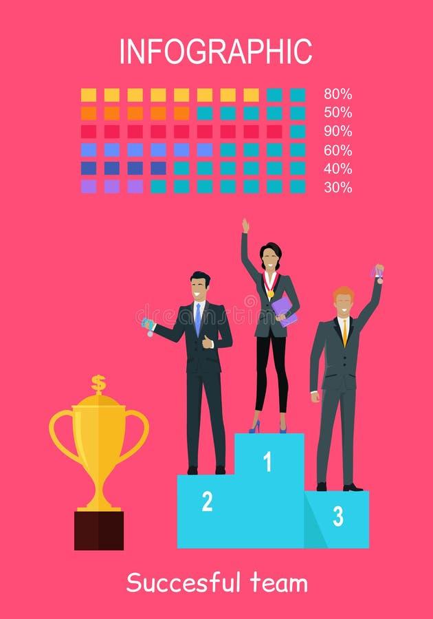 Lyckade Team Banner Folk på vinnarepodiet stock illustrationer