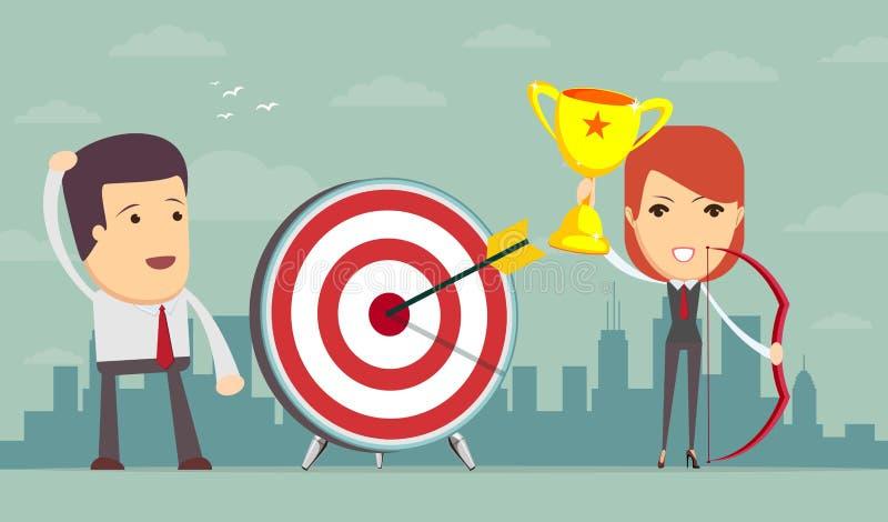 Lyckat affärsberättelsebegrepp Lycklig och lycklig affärskvinna royaltyfri illustrationer
