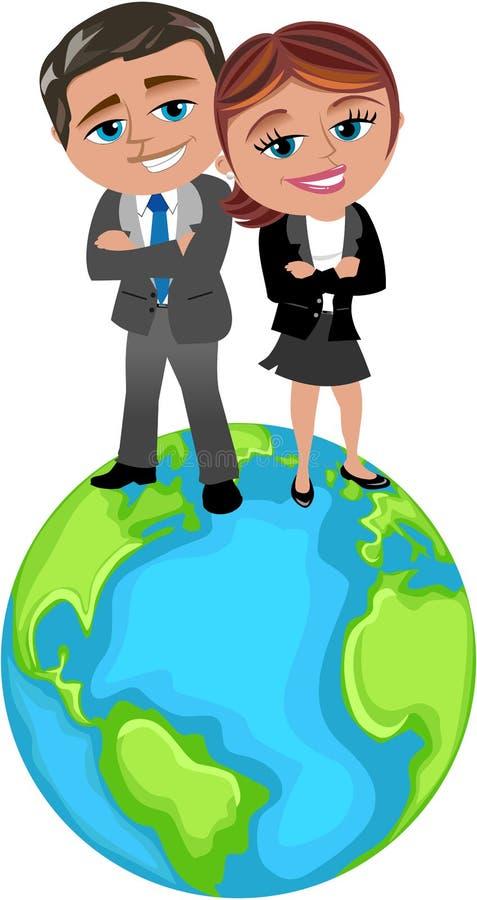 Lyckat affärsfolk på överkanten av världen royaltyfri illustrationer