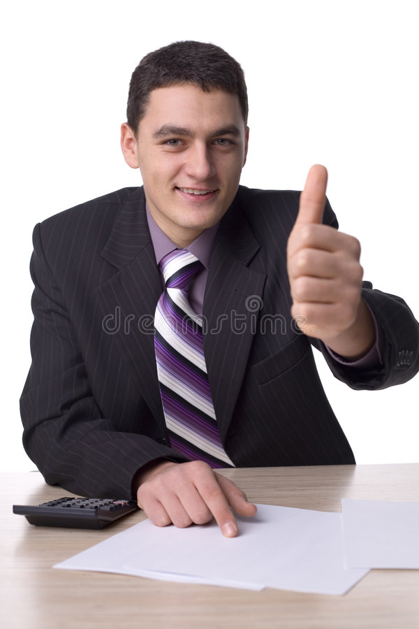 lyckat affärsmanskrivbord arkivbild