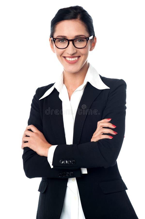 Lyckat företags posera för kvinna arkivbilder