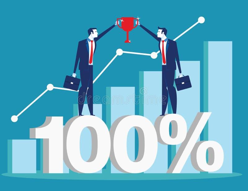 Lyckat framlägga för affärslag och finansiellt diagram Illustration f?r begreppsaff?rsvektor stock illustrationer