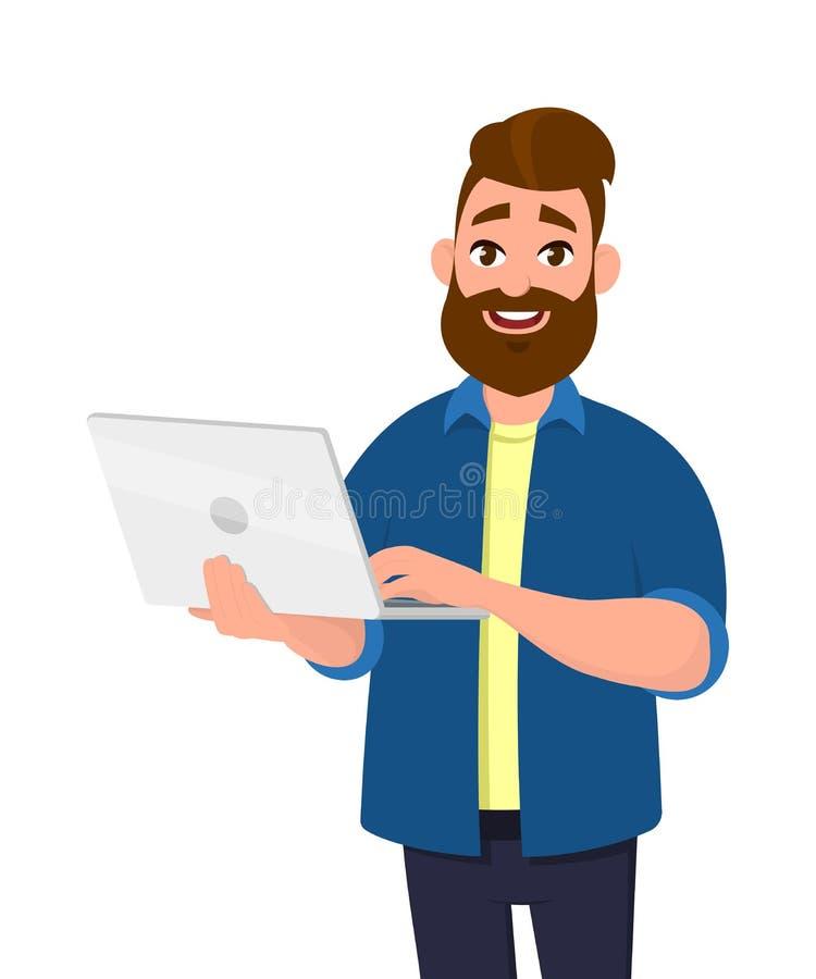 Lyckat innehav för ung man/använda PC för bärbar datordator royaltyfri illustrationer
