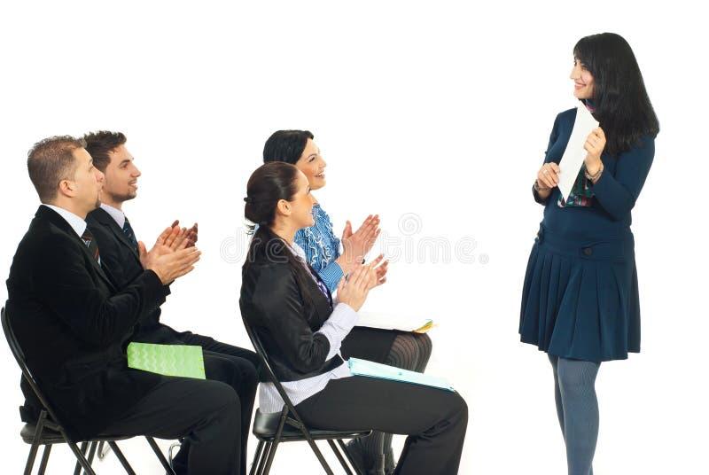 lyckat kvinnaarbete för affär royaltyfria foton