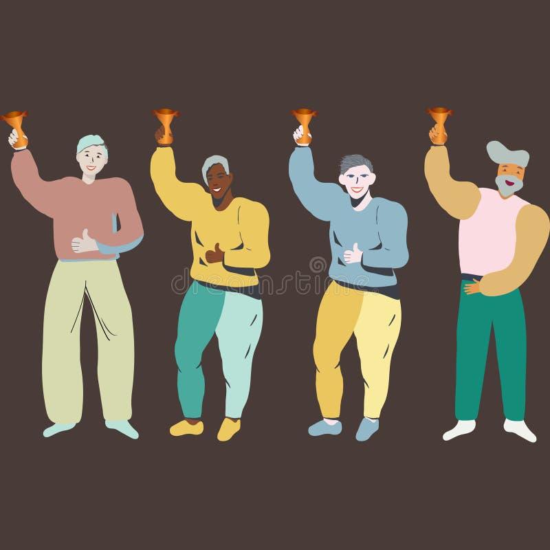 Lyckat lag som firar seger med en guld- trofé stock illustrationer