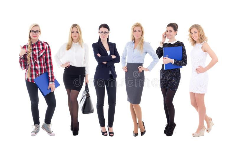 Lyckat lag - unga attraktiva affärskvinnor som isoleras på wh fotografering för bildbyråer