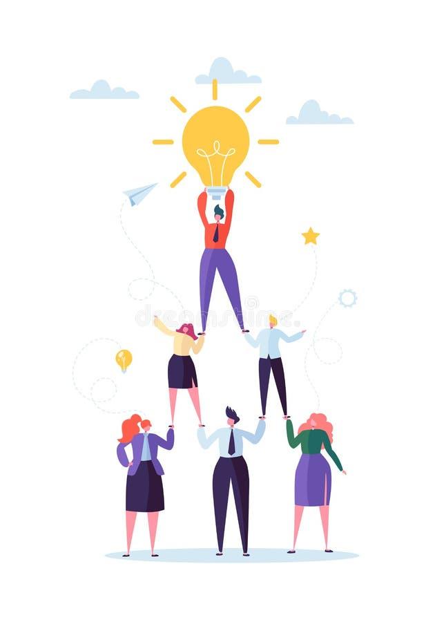 Lyckat lagarbetsbegrepp Pyramid av affärsfolk Ledare Holding Light Bulb på överkanten Ledarskap Teamworking vektor illustrationer