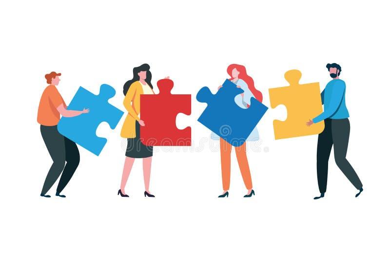 Lyckat tillsammans begrepp f?r teamwork marknadsf?ra inneh?llet Aff?rsfolk som rymmer det stora pusselstycket Plan tecknad film stock illustrationer