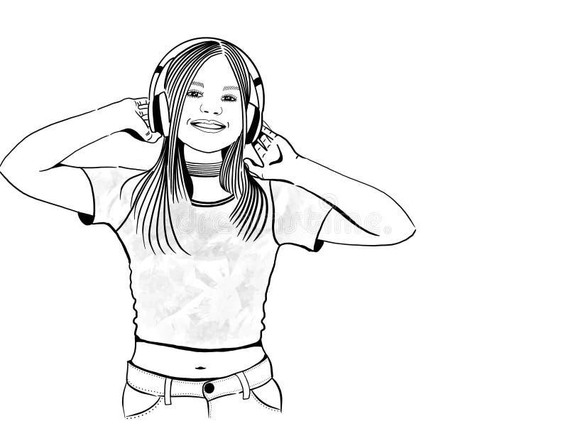 Lyckauttryck av den unga kvinnan som bär headphonemusik vektor illustrationer