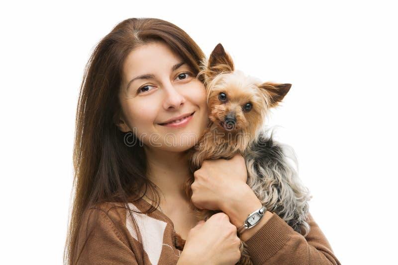 lycklig ägare för hund arkivbild