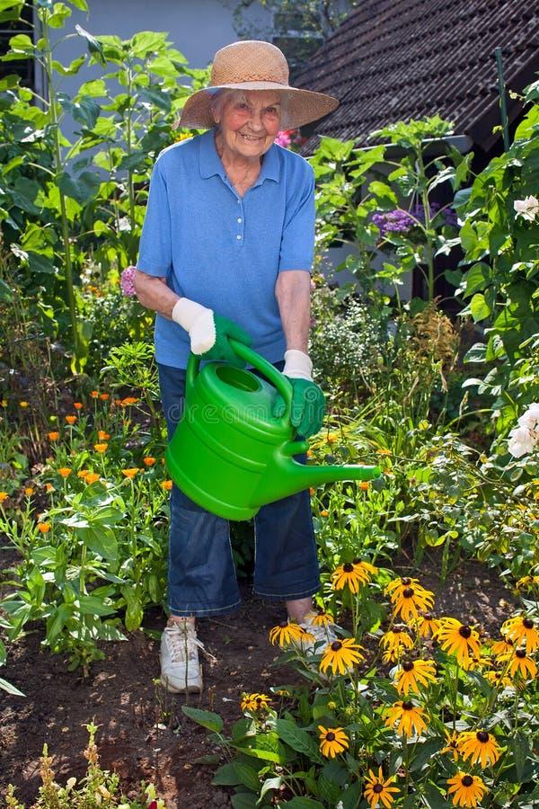 Lycklig äldre kvinna som bevattnar på blommaträdgården royaltyfria bilder