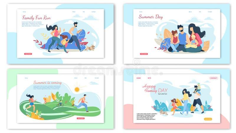 Lycklig älska uppsättning för baner för familjsommaraktiviteter royaltyfri illustrationer