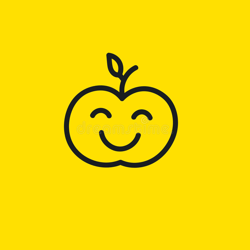 Lycklig äpplesmiley stock illustrationer