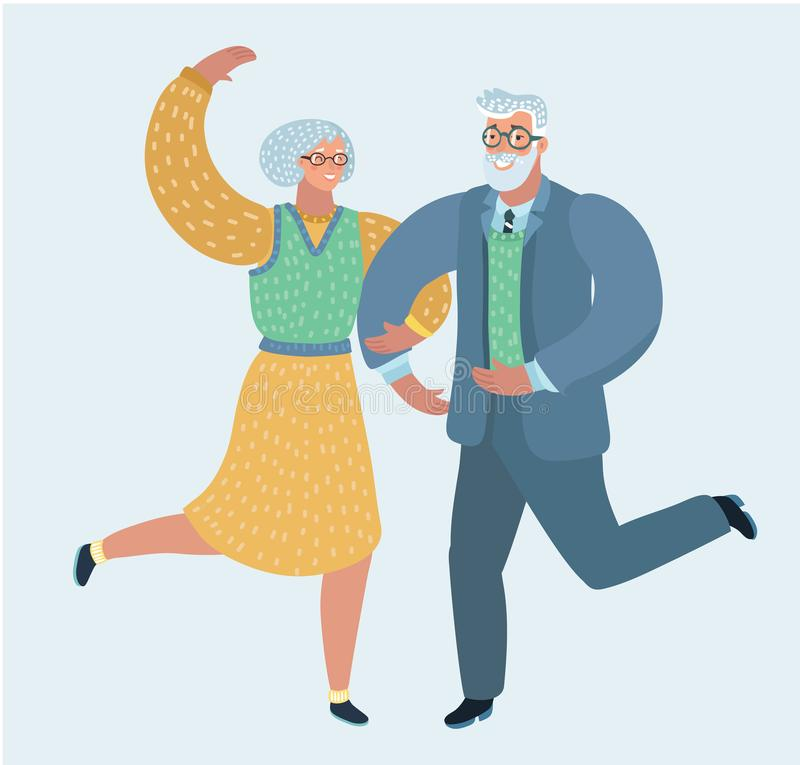 Lycklig åldringpardans royaltyfri illustrationer
