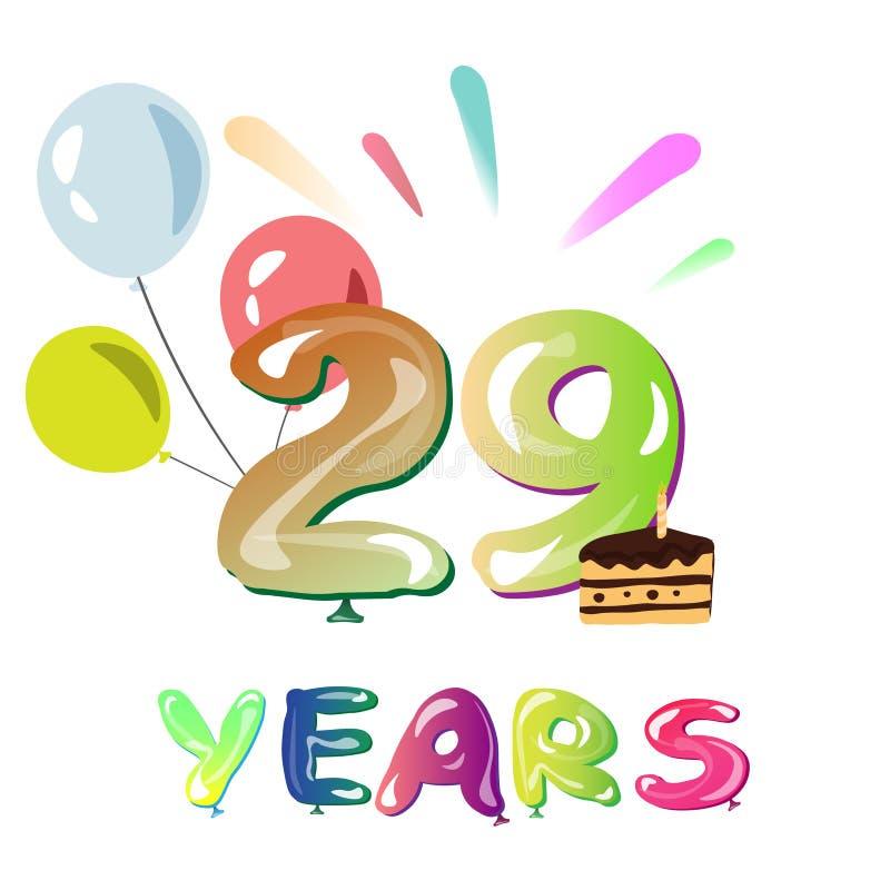 Lycklig årsdag 29 år vektor illustrationer