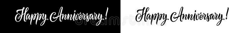 Lycklig årsdaglogo eller text som isoleras på vit bakgrund Handskriven bokstäver eller typ för lyckligt årsdagkort stock illustrationer