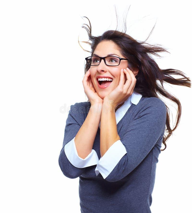 Lycklig affärskvinna. Framgång. arkivfoto