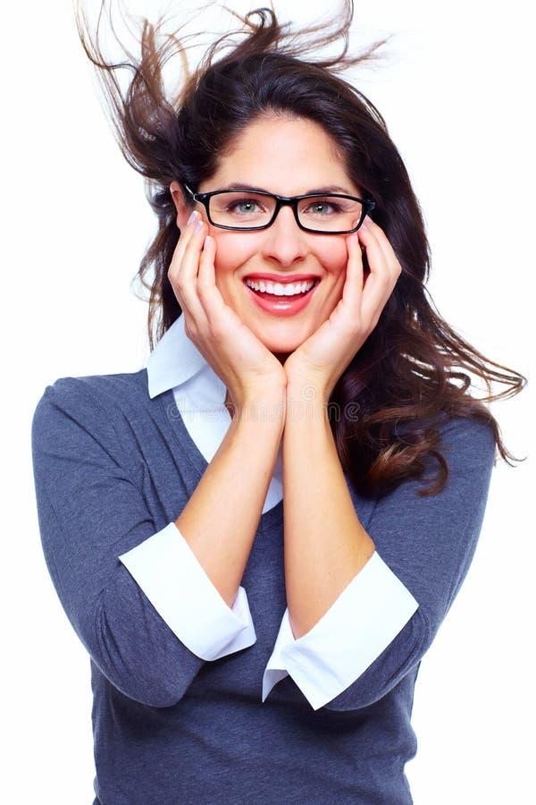 Lycklig affärskvinna. Framgång. arkivfoton