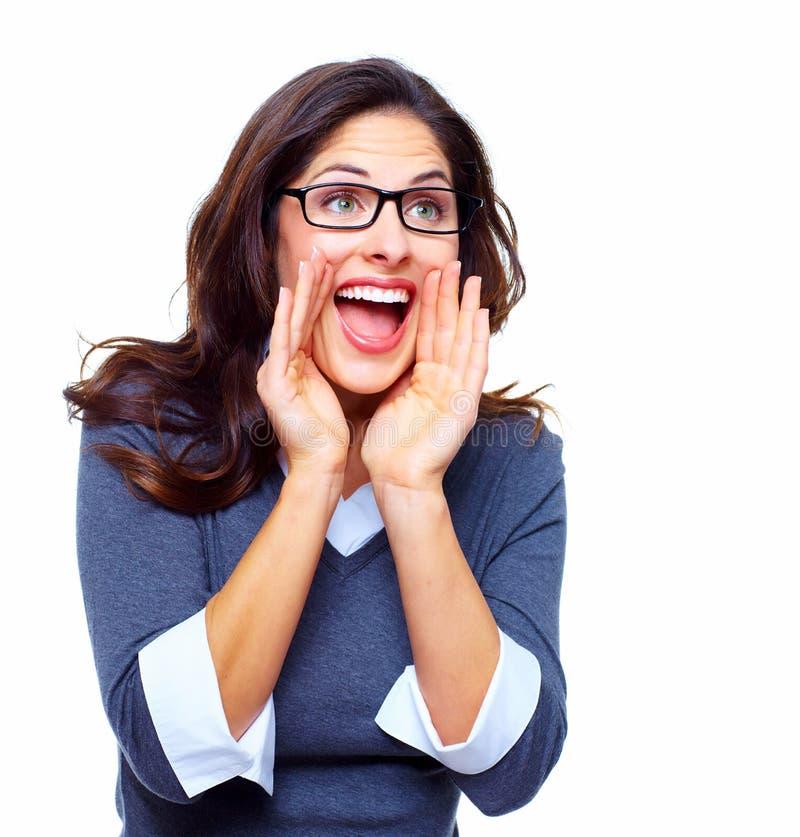 Lycklig affärskvinna. Framgång. royaltyfri bild