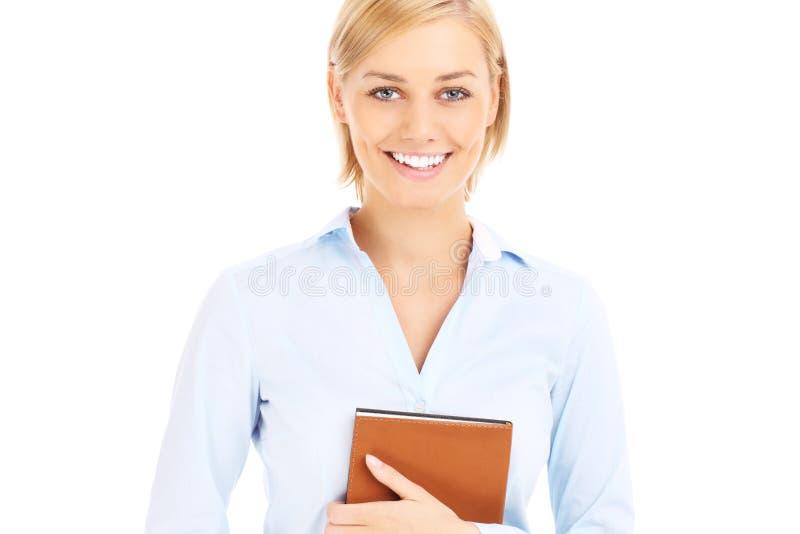 Lycklig affärskvinna med dagordningen royaltyfria bilder