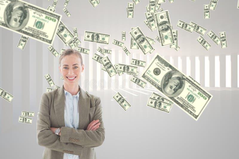 Lycklig affärskvinna med pengarregn mot vit bakgrund fotografering för bildbyråer