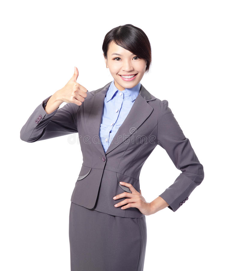 Lycklig affärskvinna med tum upp royaltyfria bilder