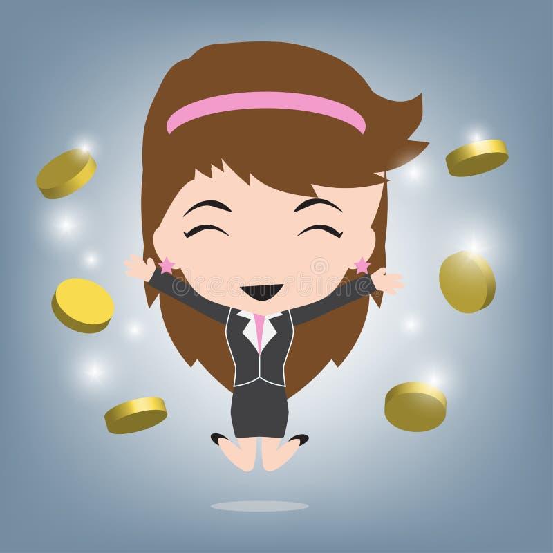 Lycklig affärskvinna och mynt eller pengarinkomst, affärsidéillustrationvektor i plan design royaltyfri illustrationer