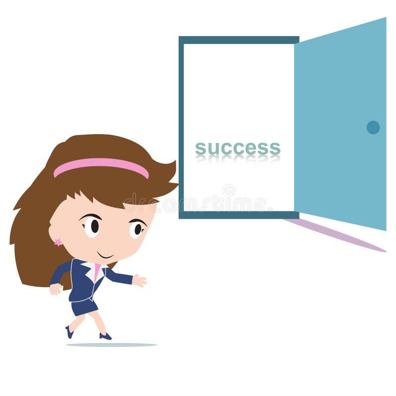 Lycklig affärskvinna som går till en öppen dörr med ordframgång inom stock illustrationer