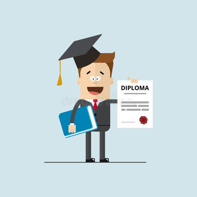 Lycklig affärsman eller student med ett diplom av avslutningsutbildning vektor illustrationer