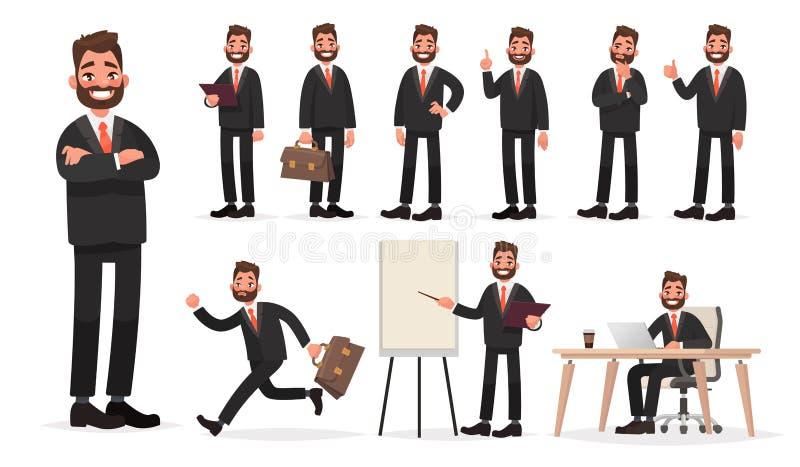 lycklig affärsman Ett tecken - uppsättningen av en man för kontorsarbetare i olikt poserar och lägen stock illustrationer