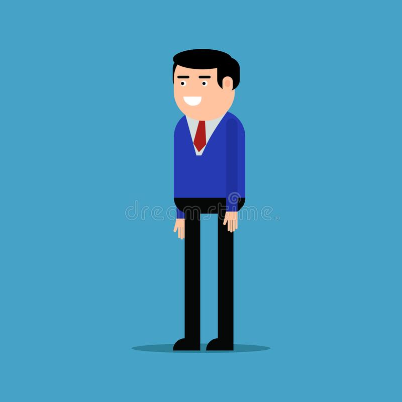 Lycklig affärsman i en blå skjorta stock illustrationer