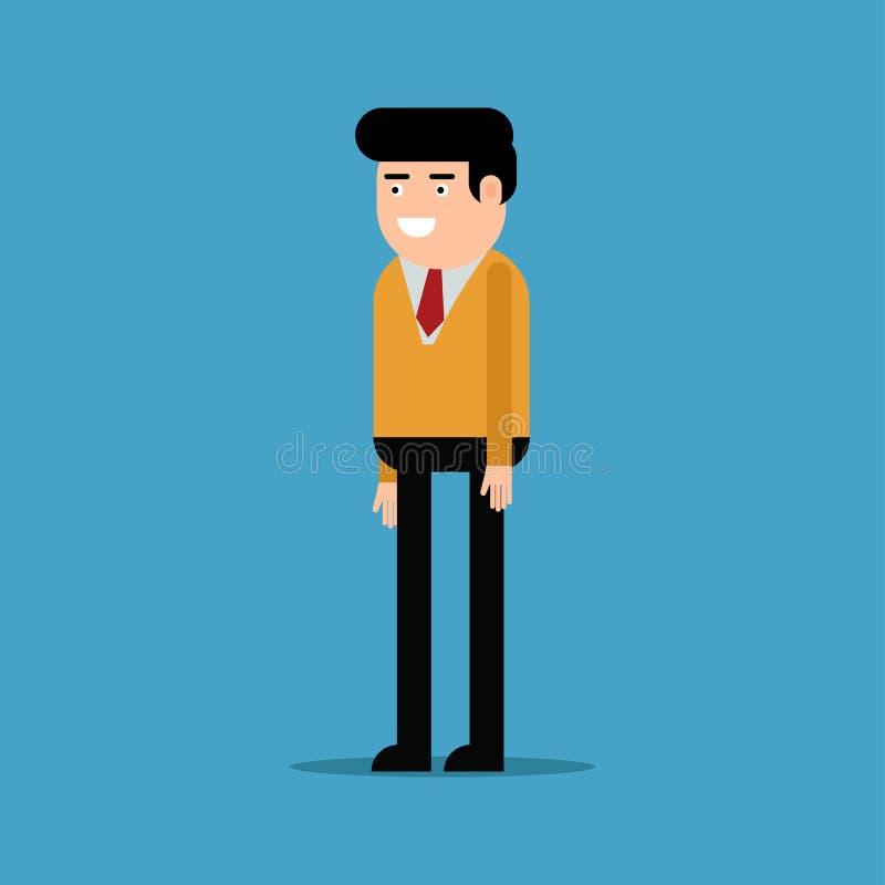 Lycklig affärsman i en orange skjorta stock illustrationer