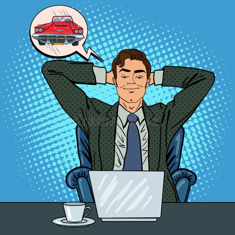 Lycklig affärsman med bärbar dator Kontorsarbetare som drömmer om den nya bilen royaltyfri illustrationer